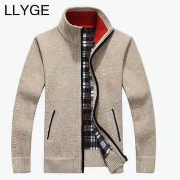 Men Warm Cardigan - Stand Neck Wool Sweater