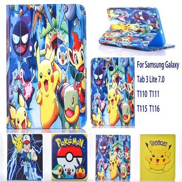 Case For Samsung Galaxy Tab 3 Lite 7.0 T110 T111 T115 case  Go cute Pikachu tablet Cover Flip stand shell coque paraKawaii Pokemon go  AT_89_9