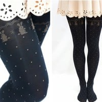 Cute Rabbit with Dots Holiday Black Tights