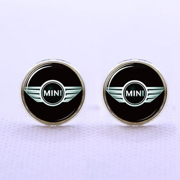 Mini Cooper Car Logo Cufflinks  -Mens Silver Plated Cufflinks,Accessoires for Man-Mens Gift ,Gift for Daddy ,Best Man