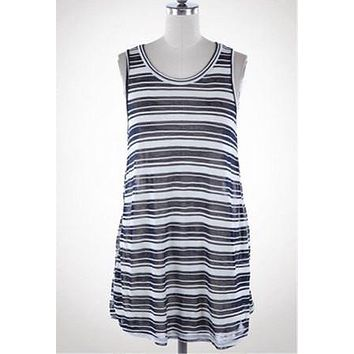 Striped Maternity Tank Top/Cover Up