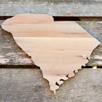 South Carolina state shape wood cutout wall art handcrafted in repurposed Oak flooring 14x17in. Wedding Housewarming Cabin Rustic Gift Decor