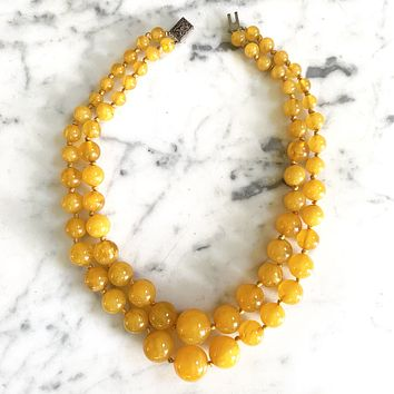 1960s Egg Yoke Amber Lucite Necklace