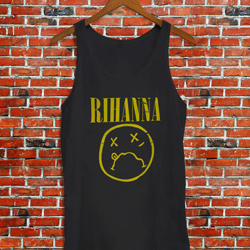 Rihanna on Nirvana Parody Women's Tank Top, Funny Tank Top, Awesome Women's Tank Top