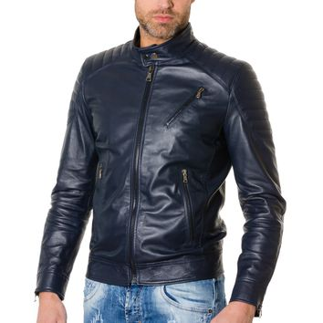 Blue Handmade Leather Jacket