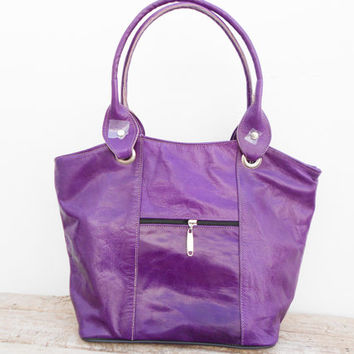 Purple Violet Purple leather tote, shoulder, shopping, Woman, College, School Bag, Handmade Leather Handbag, Gift For Her