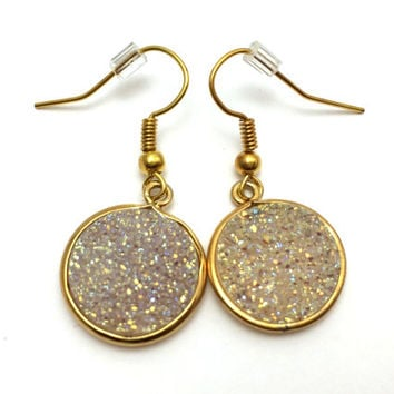Gold Earrings with White Druzy -Drop Down Earrings, Geode, Drusy