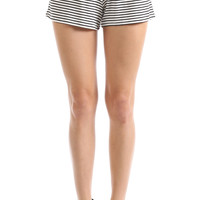 STRIPED RUNNER SHORTS - IVORY