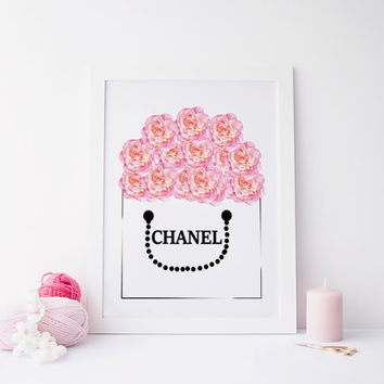 CHANEL BAG floral print, printable art, coco chanel prints, digital prints, prints, home prints, fashion prints, floral prints