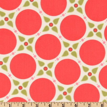 Marabella by Henry Glass Melon Pink and Green Dots Quilting Cotton Fabric 1/2 Yard