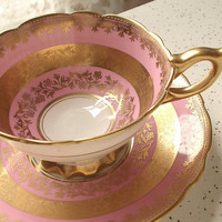 Antique pink and gold tea cup set, vintage Royal Stafford English tea set, pink tea cup, bone china tea cup and saucer