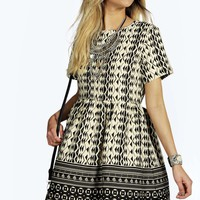 Ophelia Monochrome Border Woven Smock Dress