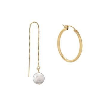 Mismatch Gold Filled Hoop and Cultured Freshwater Pearl Threader Earrings
