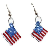 Peyote Stitched US Flag Earrings