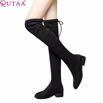 QUTAA Bohemian  Ladies Shoes Square Low Heel Women Over The Knee Boots Scrub Black Pointed Toe Woman Motorcycle Boots Size 34-43