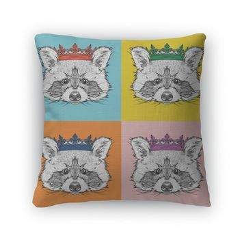 Throw Pillow, Portrait Of Raccoon With The Crown Pop Art Style Illustration
