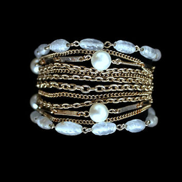 Vintage Layered Bracelet Multi Strand Bracelet Signed Kramer Bracelet Faux Pearl Glass Bead and Gold Tone Chain