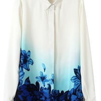ROMWE | ROMWE Floral Print Color Block White Shirt, The Latest Street Fashion