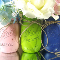 Hand Painted Mason Jars, Three, Rustic -Style Painted Mason Jars -- Pink, Lime Green and Dark Blue