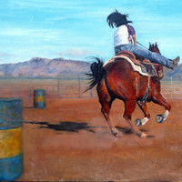 Western art, original oil, vibrant colors of a girl and her horse racing barrels, professionally framed in aged barnwood