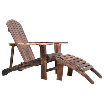 Outsunny Wooden Adirondack Outdoor Patio Lounge Chair w/ Ottoman - Rustic...