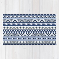 Tribal Art Pattern Navy Blue Silver White Rug by Tjc555 | Society6