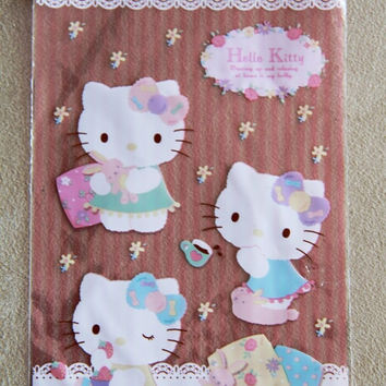 15 pcs Clear Poly / Cello Gift Bags - Hello Kitty with stripes and white lace by Sanrio pink