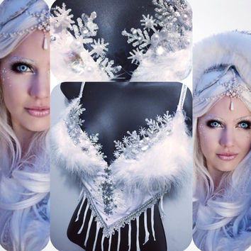 36C Push- Ice Queen: Ice princess, rave wear, rave outfit, edm, edc, festival, rave, NYE, christmas, costume
