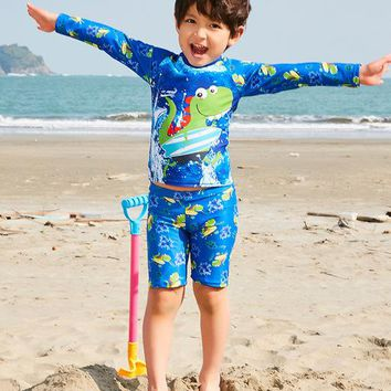 Swimsuit For Children Kids Bathing Suit Children Swimsuit Boys Swimwear 2018 New Boy Big Boy Split Cute 28069 Animal Polyester