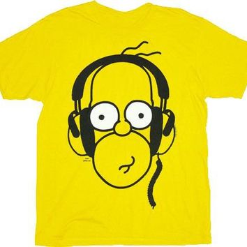 The Simpsons Homer With Headphones Yellow Adult T-shirt - The Simpsons - | TV Store Online