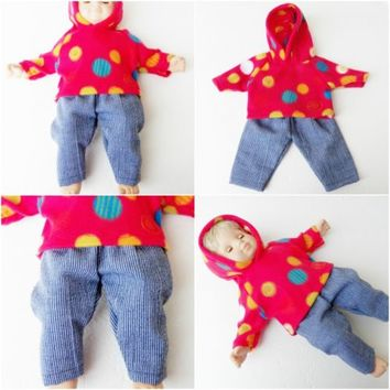 "Bitty Baby Clothes, fits 15"" boy doll,Red Polka Dot Hoodie Pants, HANDMADE, new"