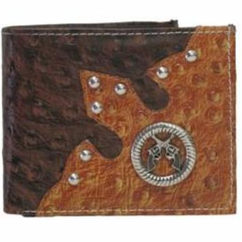 Men's Brown and Tan Ostrich Pattern Bi-fold Leather Wallet with Dual Pistols Emblem
