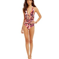 Kenneth Cole Floral Explosion Twist Plunge One-Piece Swimsuit | Dillards