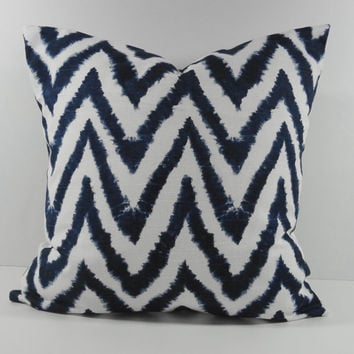Navy Blue Ikat Chevron Pillow Cover, Decorative Pillow Cushion