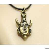 Marrywindix 	 Supernatural Dean Winchester Mask Pendant Necklace Two-sided Pendant (Antique Golden)