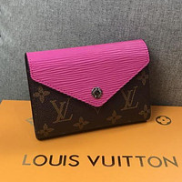 LV Louis Vuitton Women's Tide brand short paragraph simple brooch button wallet Rose Red