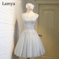 Lamya Real Photo Cheap Short Prom Dresses Evening Party Homecoming Dress With Lace 2017 Women's Sexy A Line Gown EV2924