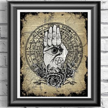 Wiccan Palm and Eye Print~ Occult Dictionary Art
