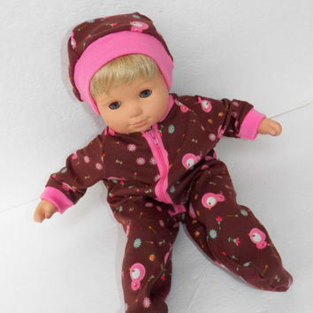 "Bitty Baby Doll Clothes Twin Girl Baby Doll 15"" American Girl 3 STYLES options Brown Bird Owl Pajamas with / without Hat Cotton Knit Zip Up"