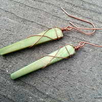 Green Shell Dagger Earrings with Copper Wire Wrapping - Mossy Green Mother of Pearl Earrings - Boho Earrings - Shell and Copper Earrings