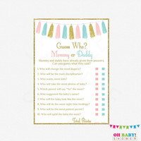 Neutral Baby Shower, Mommy or Daddy Quiz, He Said She Said Game, Pink and Blue Baby Shower Games, Instant Download, Printable Sign TASPBG