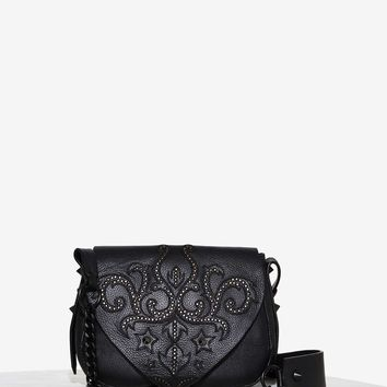 Nasty Gal Mover 'N Shaker Leather Crossbody Bag - Jet