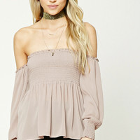 Contemporary Smocked Off-the-Shoulder Top