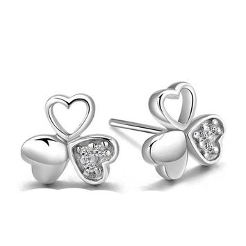 Clover Heart-shaped 925 Silver Crystal Tiny Studs Earrings +Gift Box