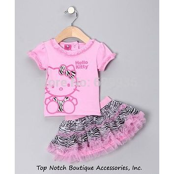 Retail  2016 Summer New Children Girl's 2 pic Hello Kitty cute girl Set baby Clothing sets dots skirt pants girls clothes