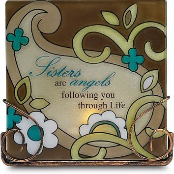 Sisters are angels following you through life Tea Light Candle Holder
