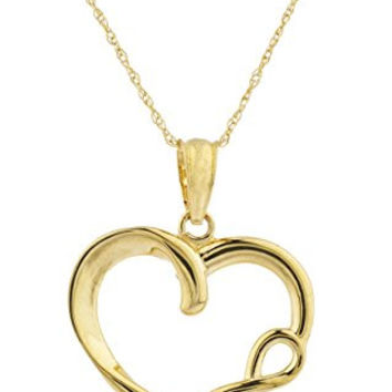 10k Yellow Gold Heart with Infinity Pendant Singapore Necklace 18Inch