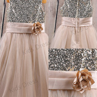 A-line Scoop Tulle Flower Girl Dress With Sequins
