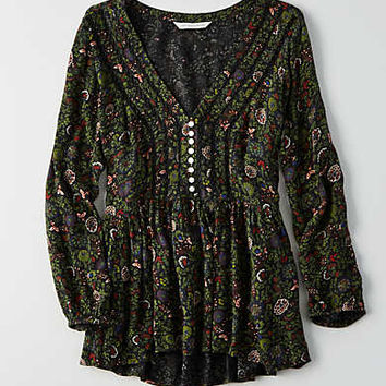 AEO Printed Button Top, Black