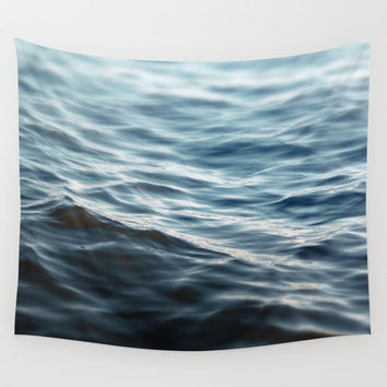 Dark Waters 2 - Wall Tapestry, Navy Blue, Ocean Nautical Hanging, Beach Surf Bohemian Hippie Chic Throw Cover. In Small, Medium and Large